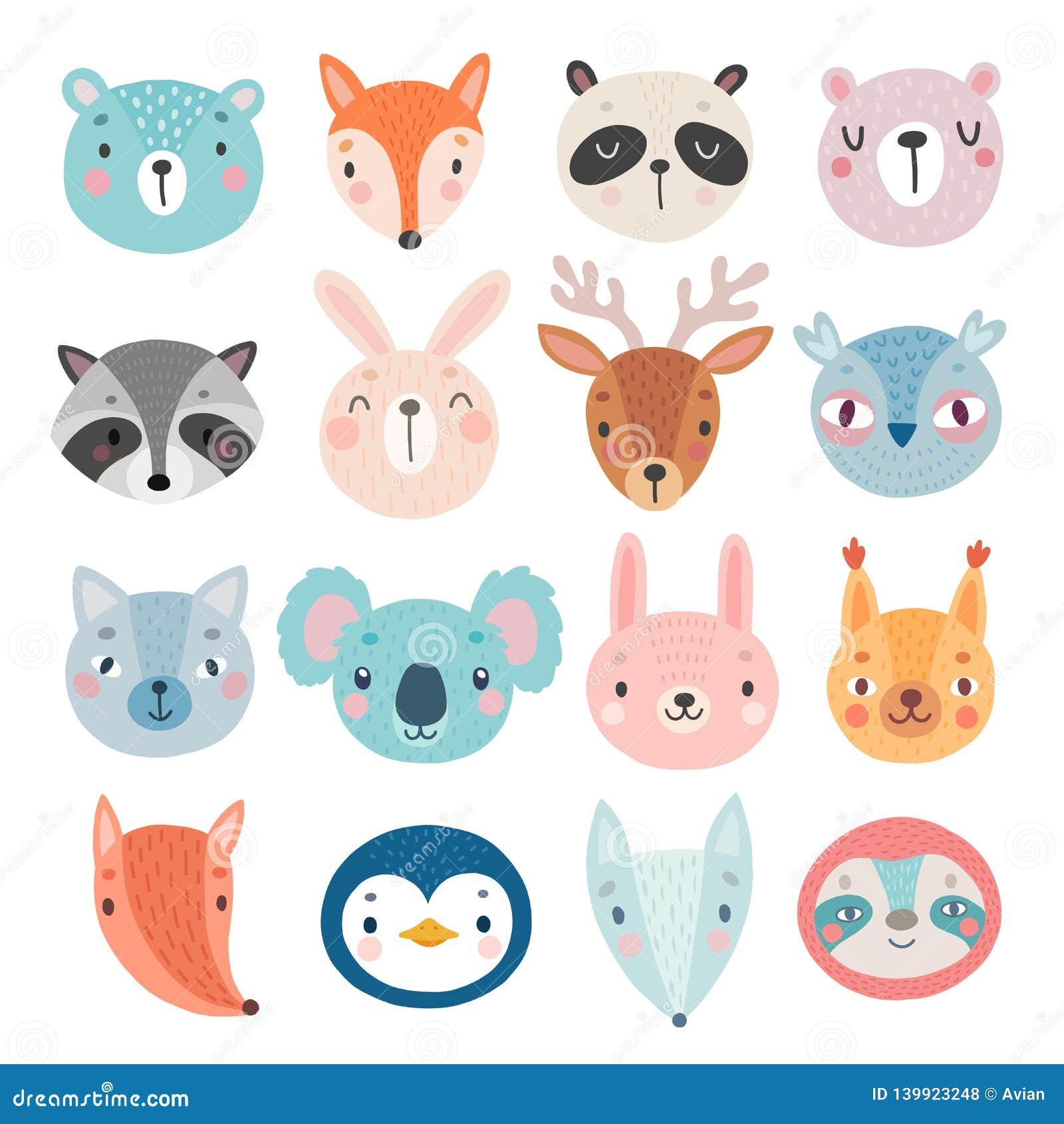 Caracteres, oso, zorro, mapache, conejo, ardilla, ciervos, búho y otros lindos del arbolado