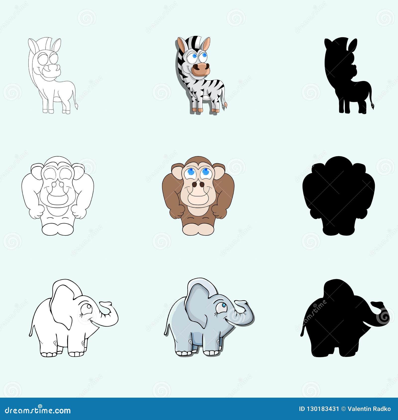 Caracteres Pintados El Gorila El Elefante Y La Cebra Para
