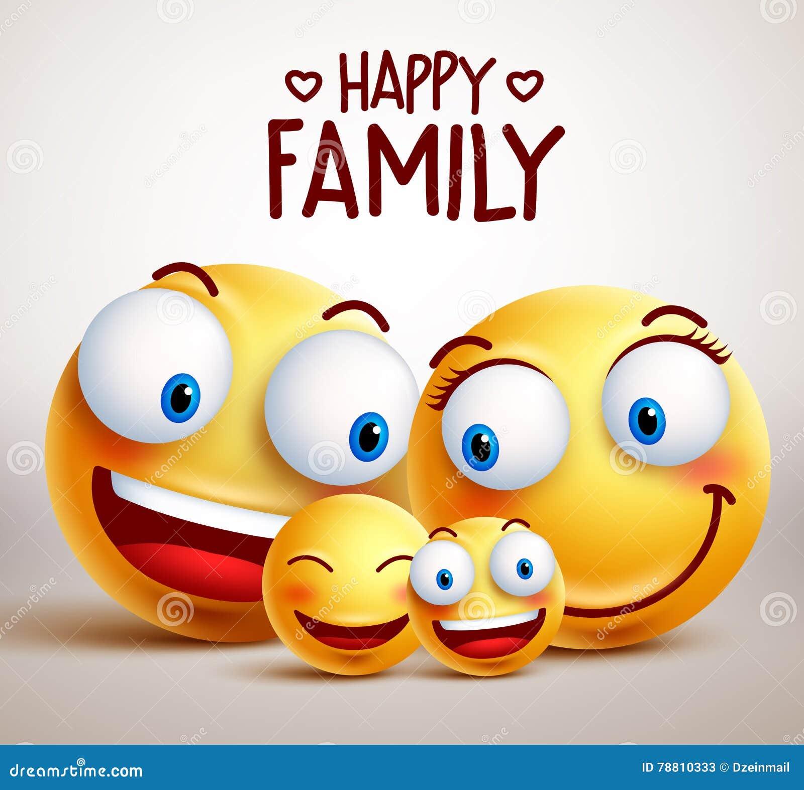 Caracteres sonrientes del vector de la cara de la familia feliz con el padre, la madre y los niños