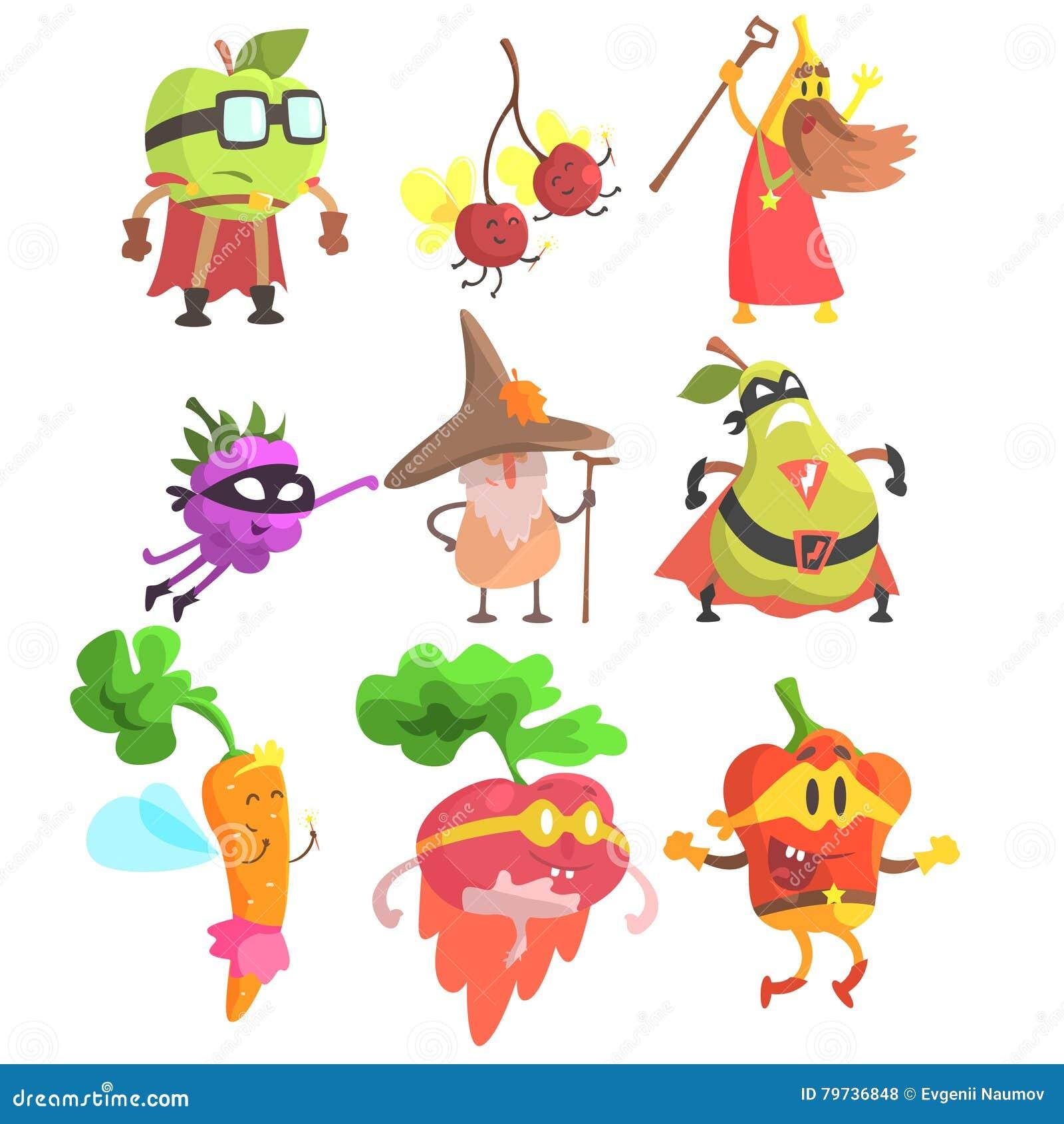 Caracteres tontos de la fruta y verdura de la fantasía fijados