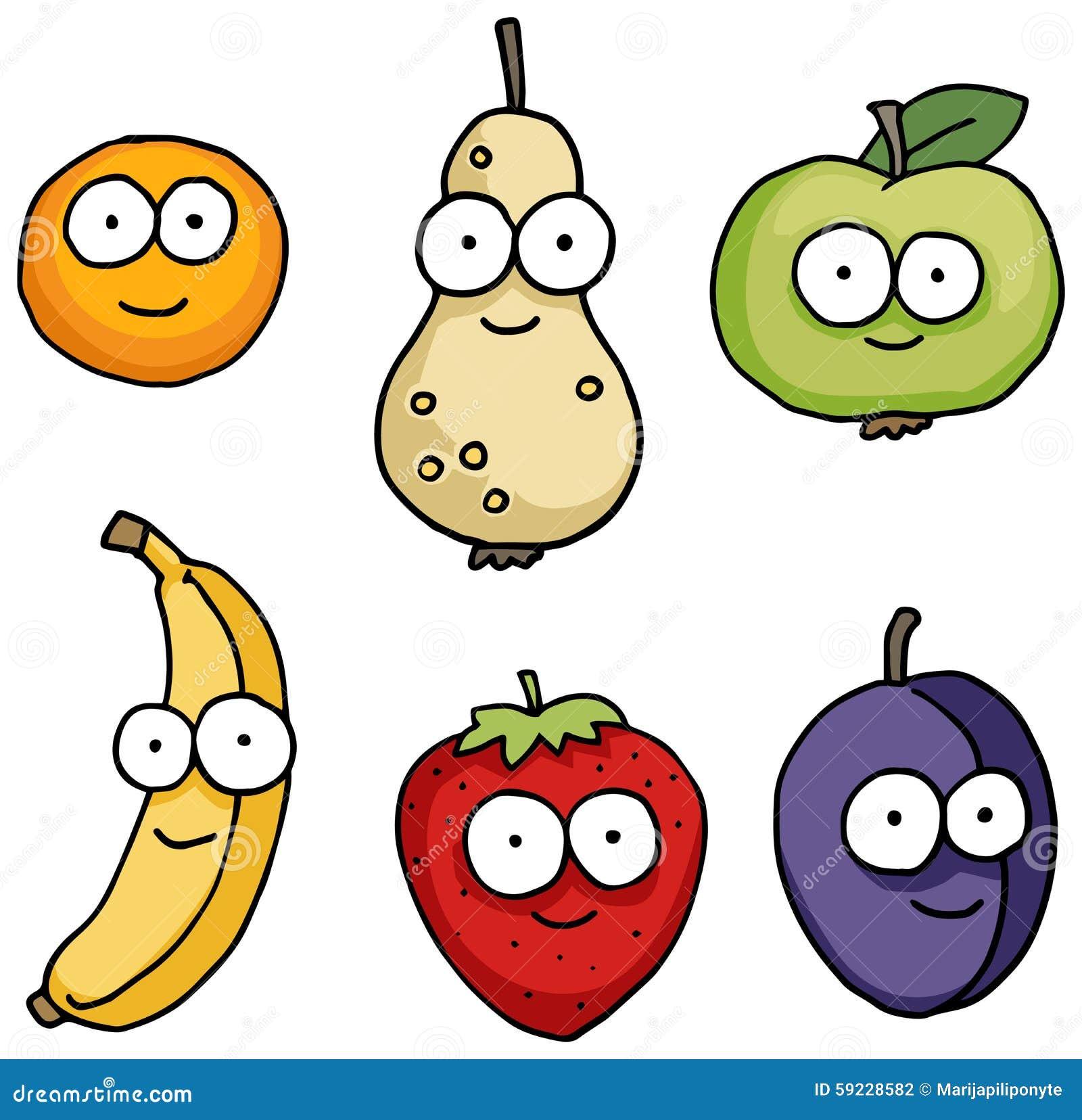 Caracteres vegetales felices dibujados mano