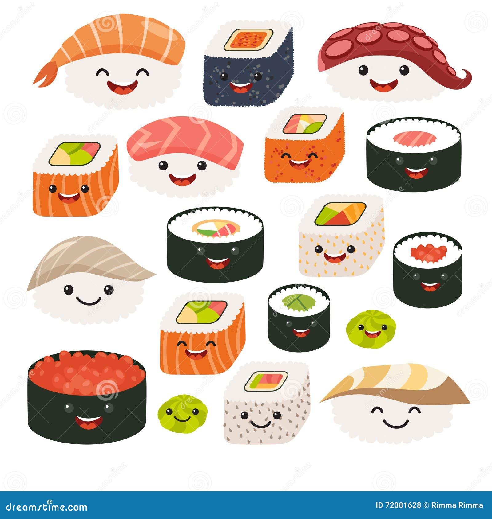 Caract res de sushi d 39 emoji nourriture de japonais de for Poisson japonais nourriture