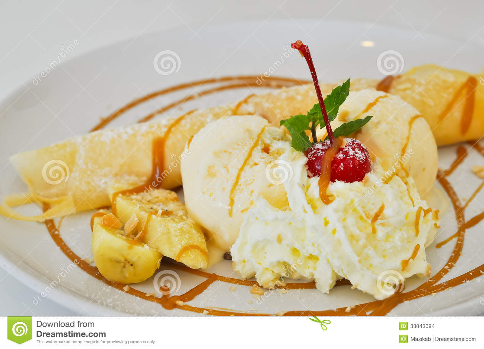 caramel-banana-crepe-ice-cream-vanilla-crepes-stuffed-bananas-topped ...