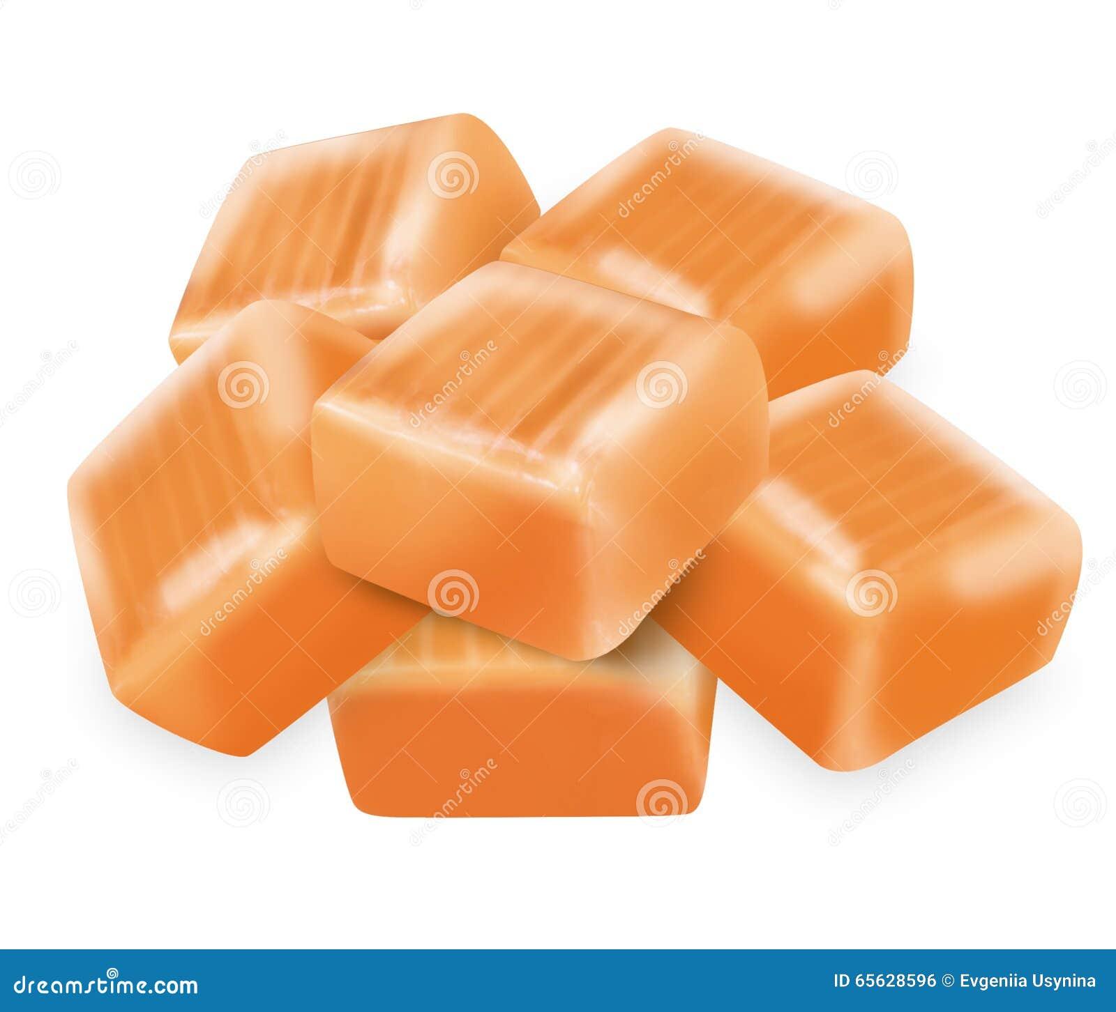 Caramel carré de sucrerie avec le chemin de coupure