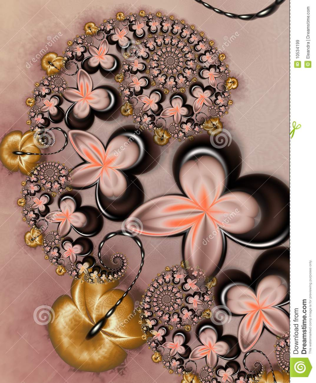 Caramel With Chocolate Flowers Royalty Free Stock Image