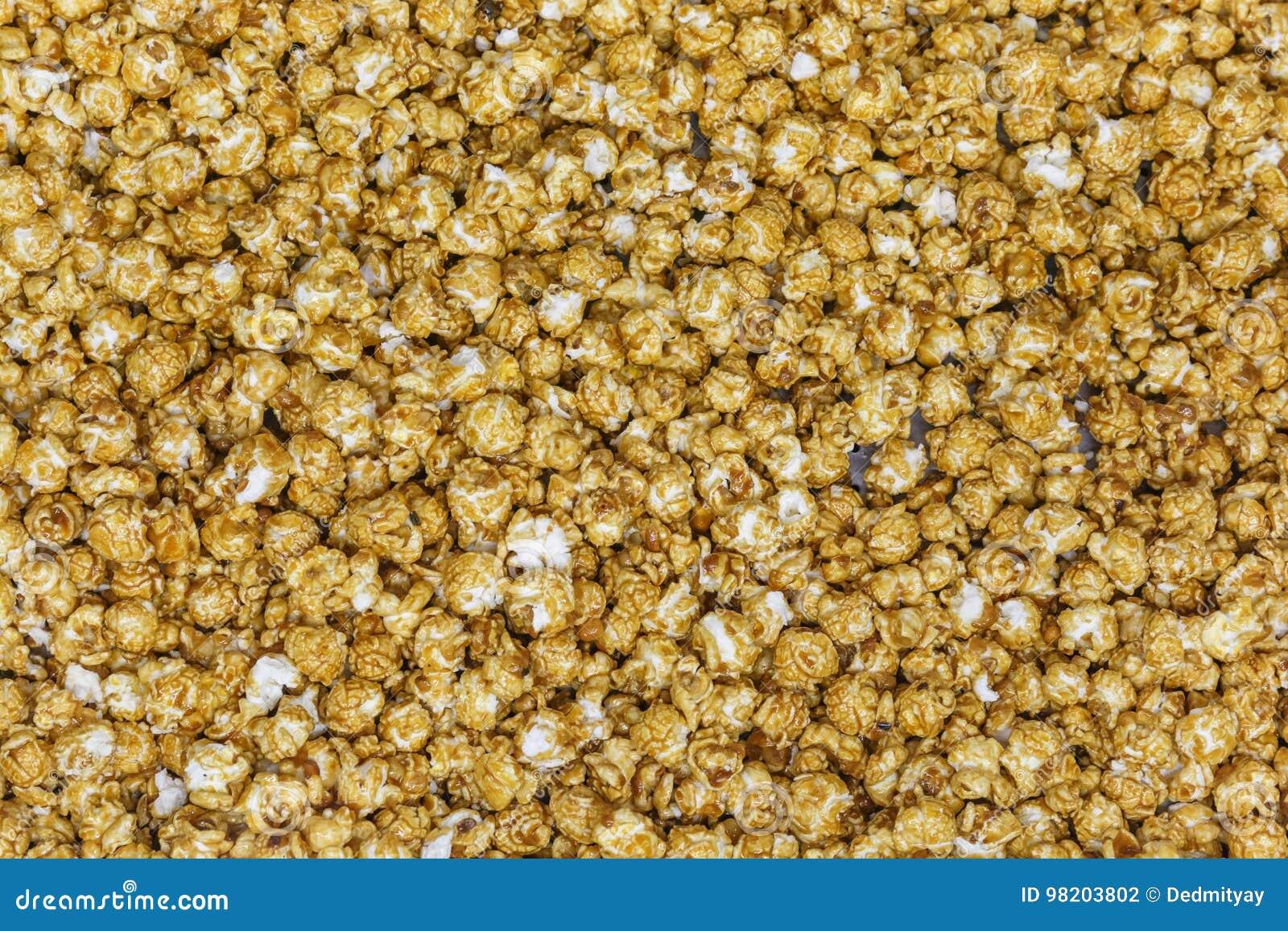 Caramel popcorn texture background