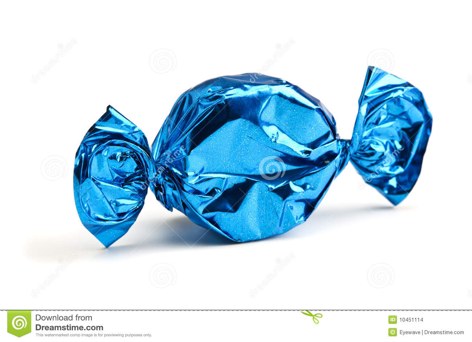 Caramella spostata in stagnola blu