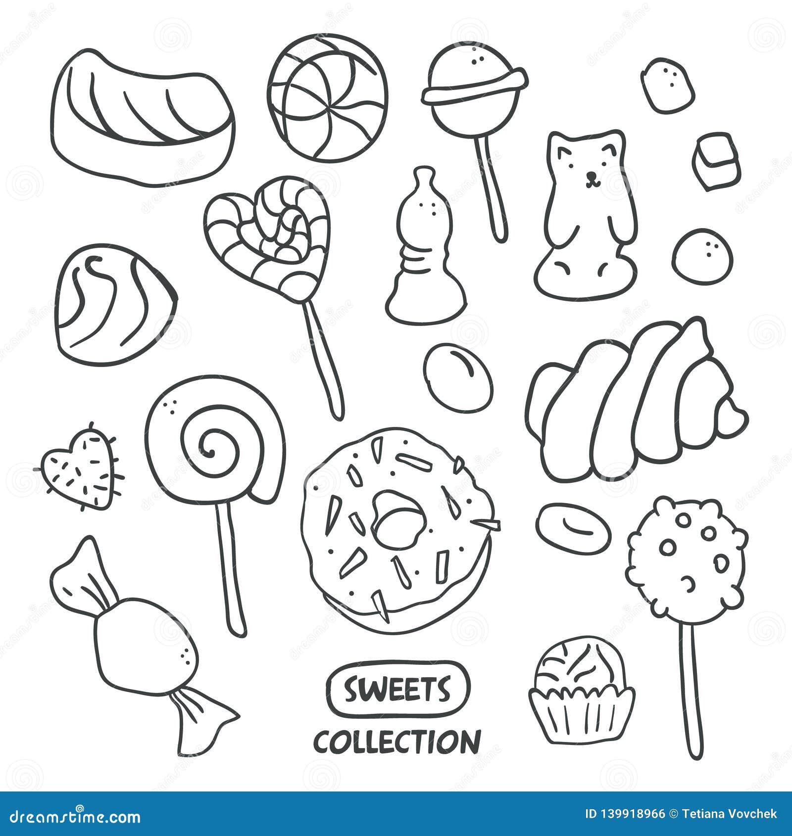 Disegni Caramelle Da Colorare.Caramelle Disegnate A Mano Rassodate Ciambella Lecca Lecca Caramella Illustrazione Vettoriale Illustrazione Di Doodles Decorativo 139918966