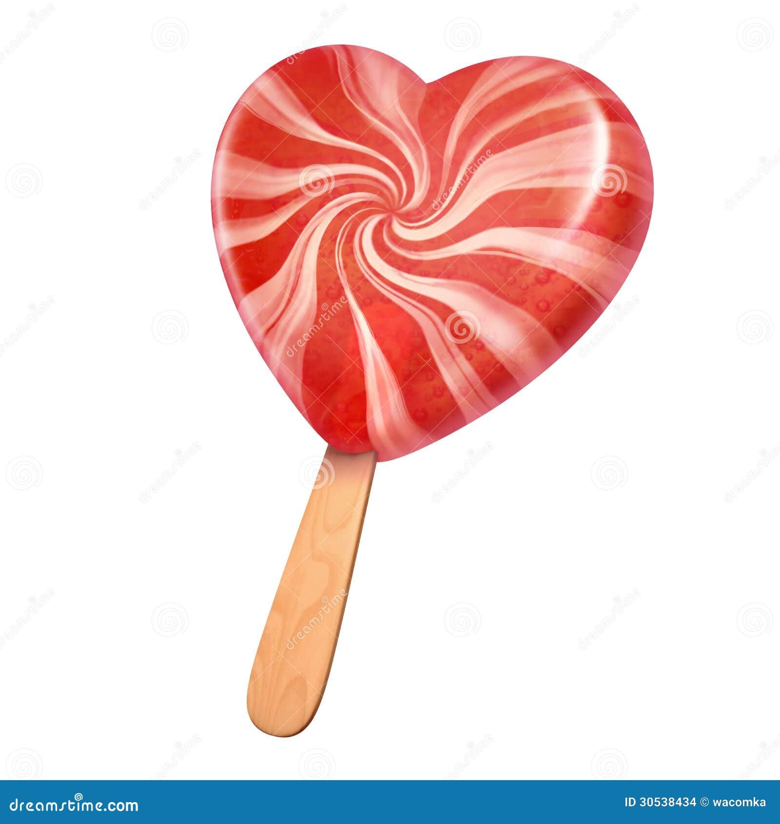 Caramelo En Forma De Corazón Rosado Del Helado Stock de ...