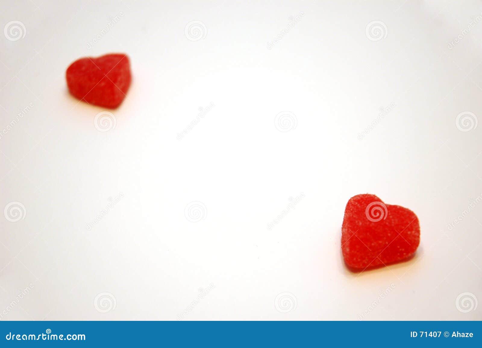 Caramelo separado del día de tarjetas del día de San Valentín de los corazones