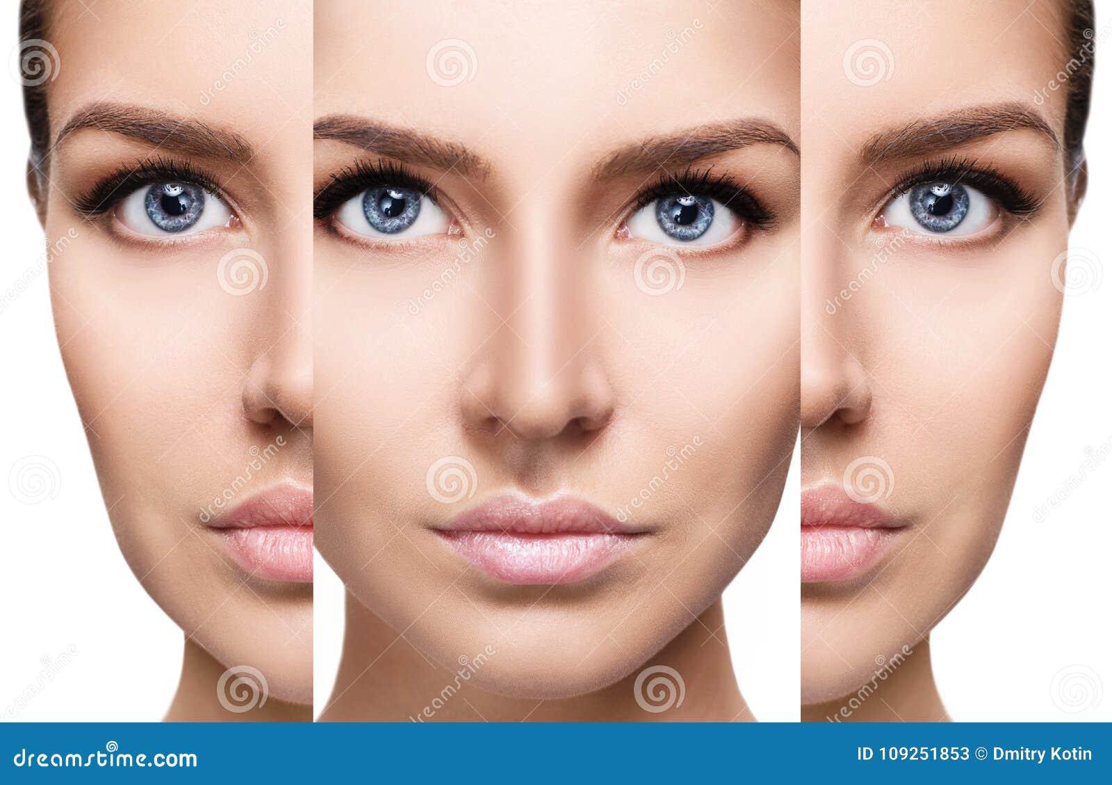 Caras Bonitas Da Mulher Conceito Da Beleza Imagem De Stock Imagem