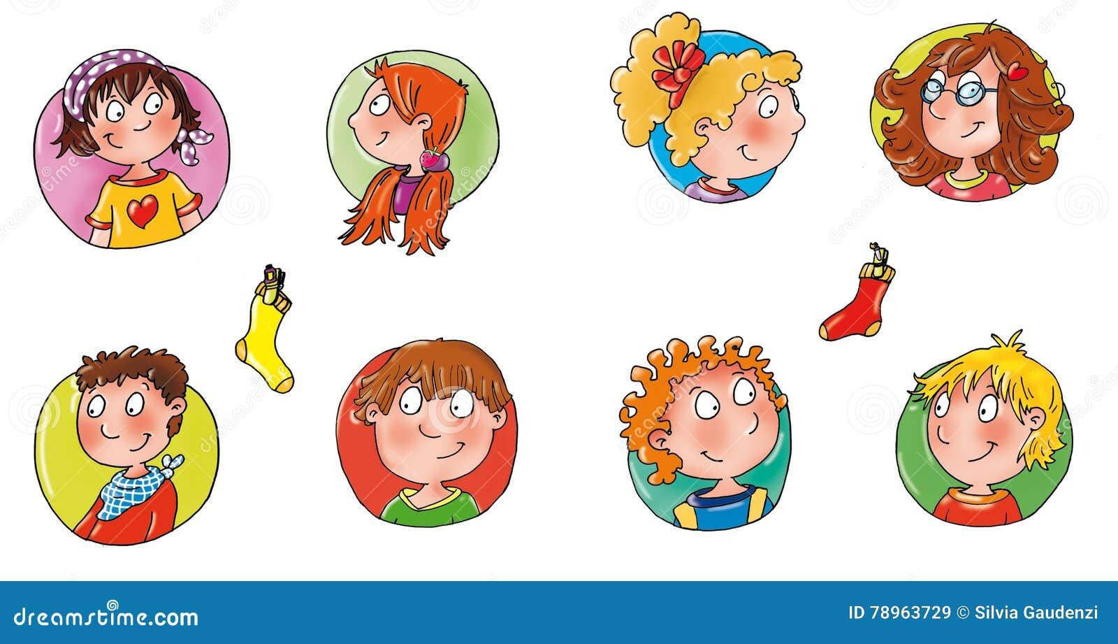 Caras de los niños con el icono cómico divertido coloreado del botón del avatar de los fondos a los sitios