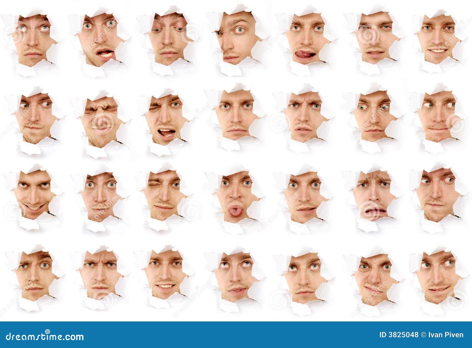 Caras del hombre en un agujero de papel