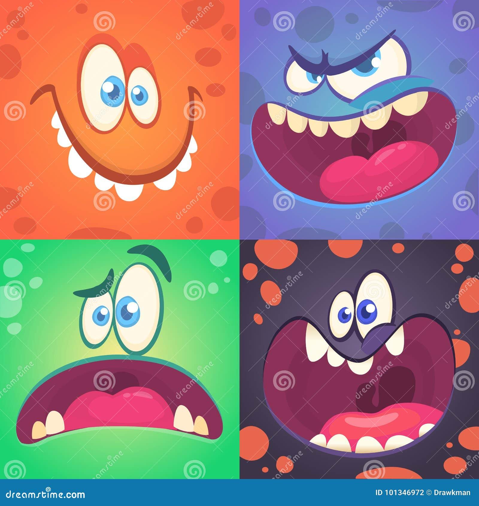 Caras do monstro dos desenhos animados ajustadas Grupo do vetor de quatro caras do monstro de Dia das Bruxas com expressões difer