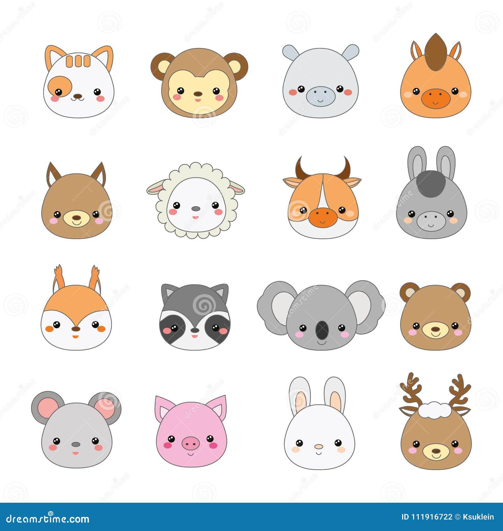 Caras lindas de los animales Sistema grande de iconos de la fauna del kawaii de la historieta y de los animales del campo