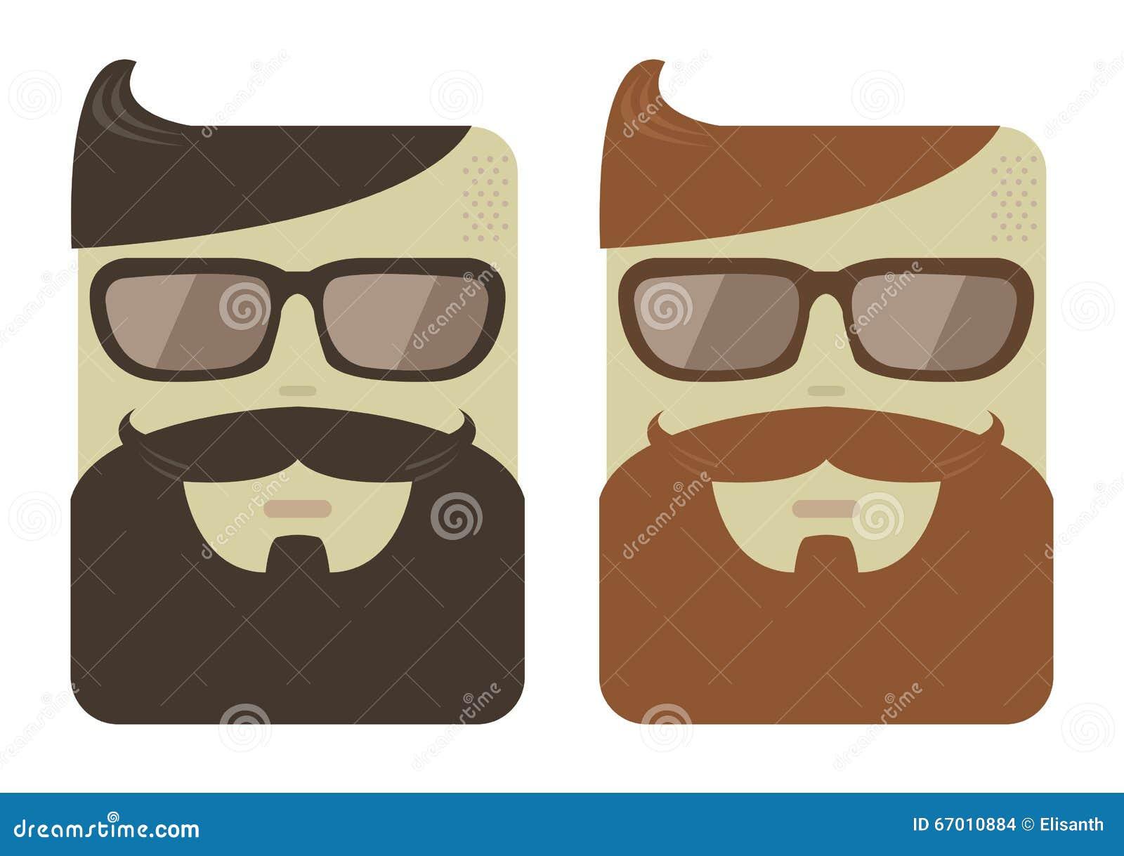 Caras Masculinas Dos Desenhos Animados Do Vetor Com Barbas Do