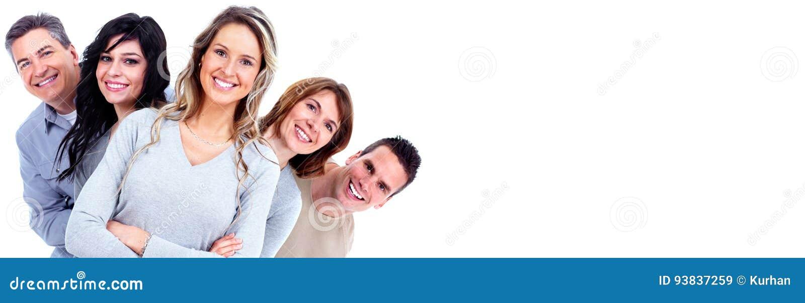 Caras sonrientes de la gente