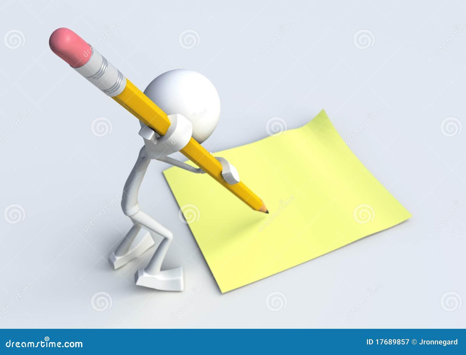 Carattere 3D che scrive una nota