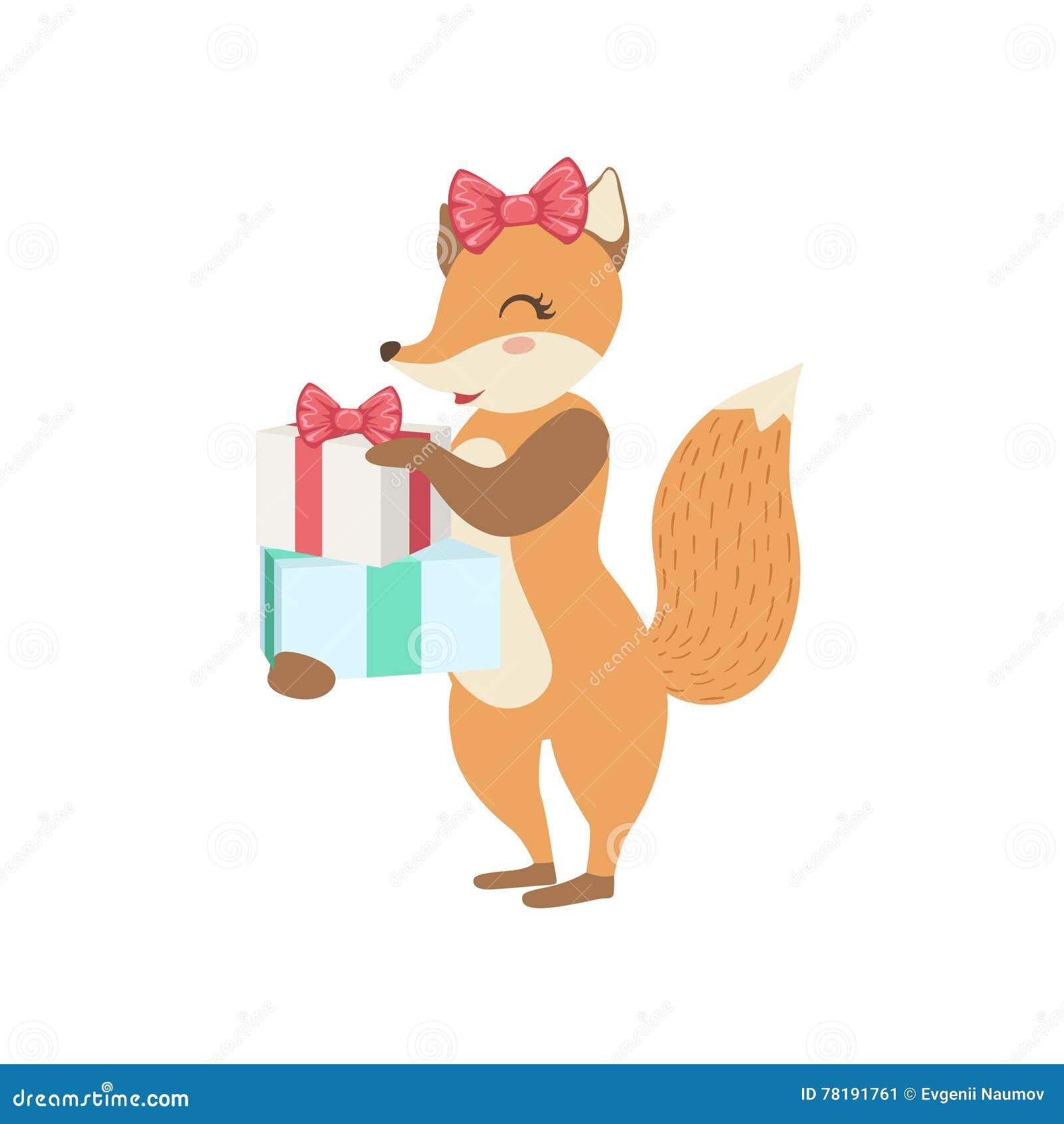 Grande Festa allo Zoo Occupazione Carattere-animale-sveglio-di-fox-che-assiste-alla-festa-di-compleanno-78191761
