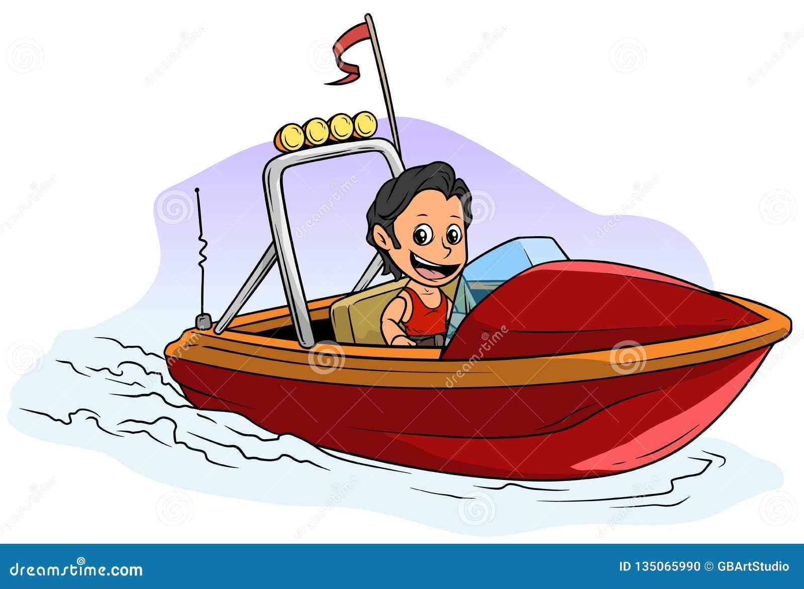 Carattere castana del ragazzo del fumetto sull imbarcazione a motore rossa