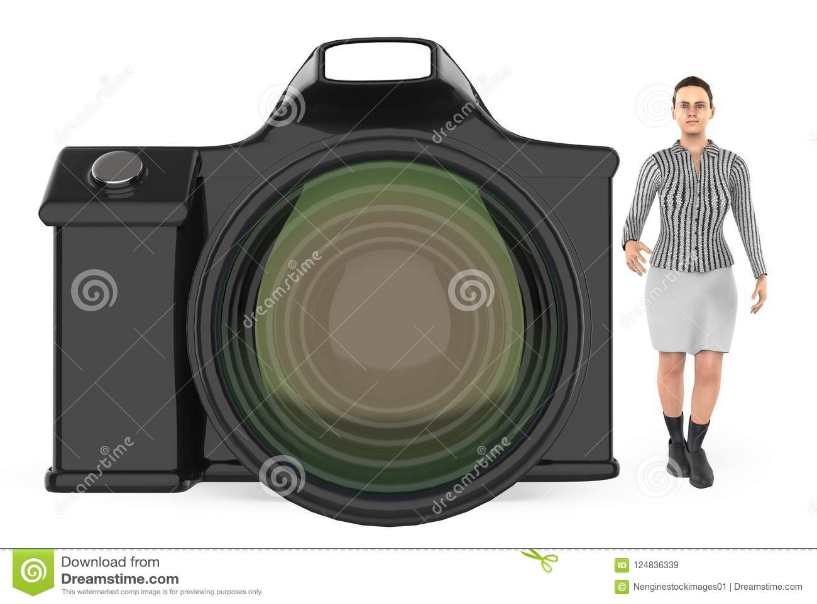 Carattere 3d, donna e una macchina fotografica