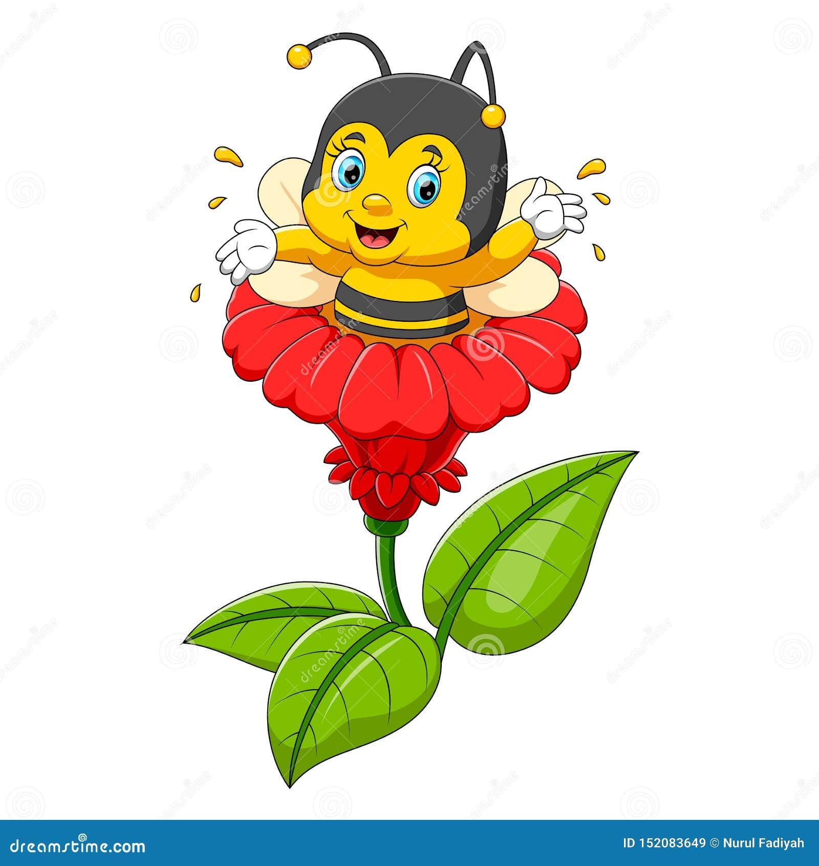 Carattere dell ape sul fiore