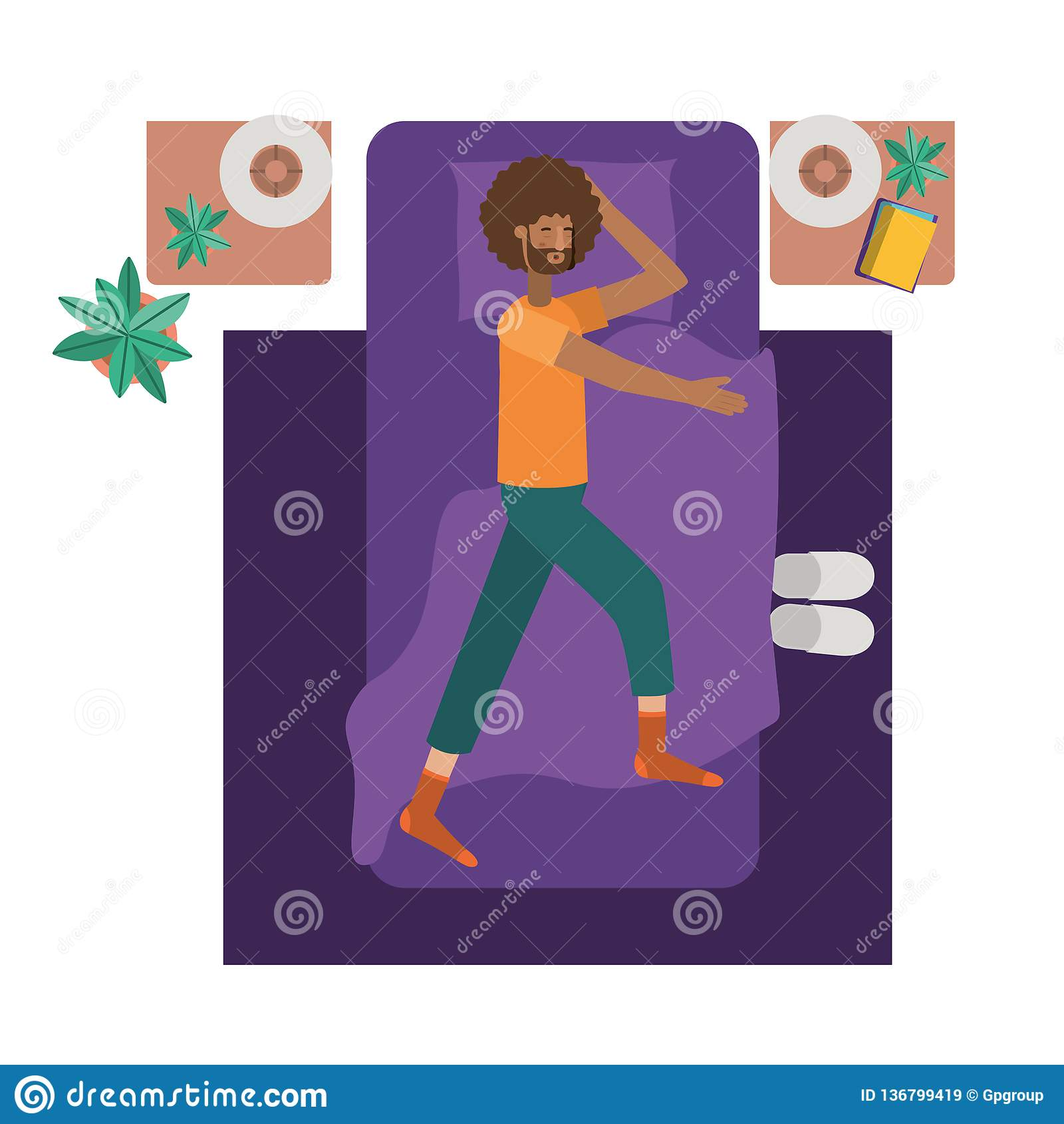 Carattere dell avatar di afro del giovane a letto