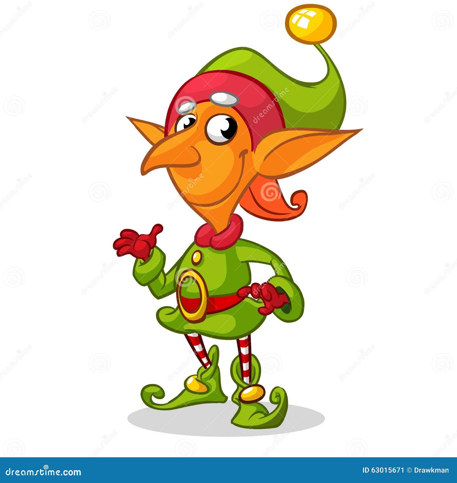 Carattere dell elfo di Natale in cappello verde Illustrazione della  cartolina d auguri di Natale con 5de01d57b986
