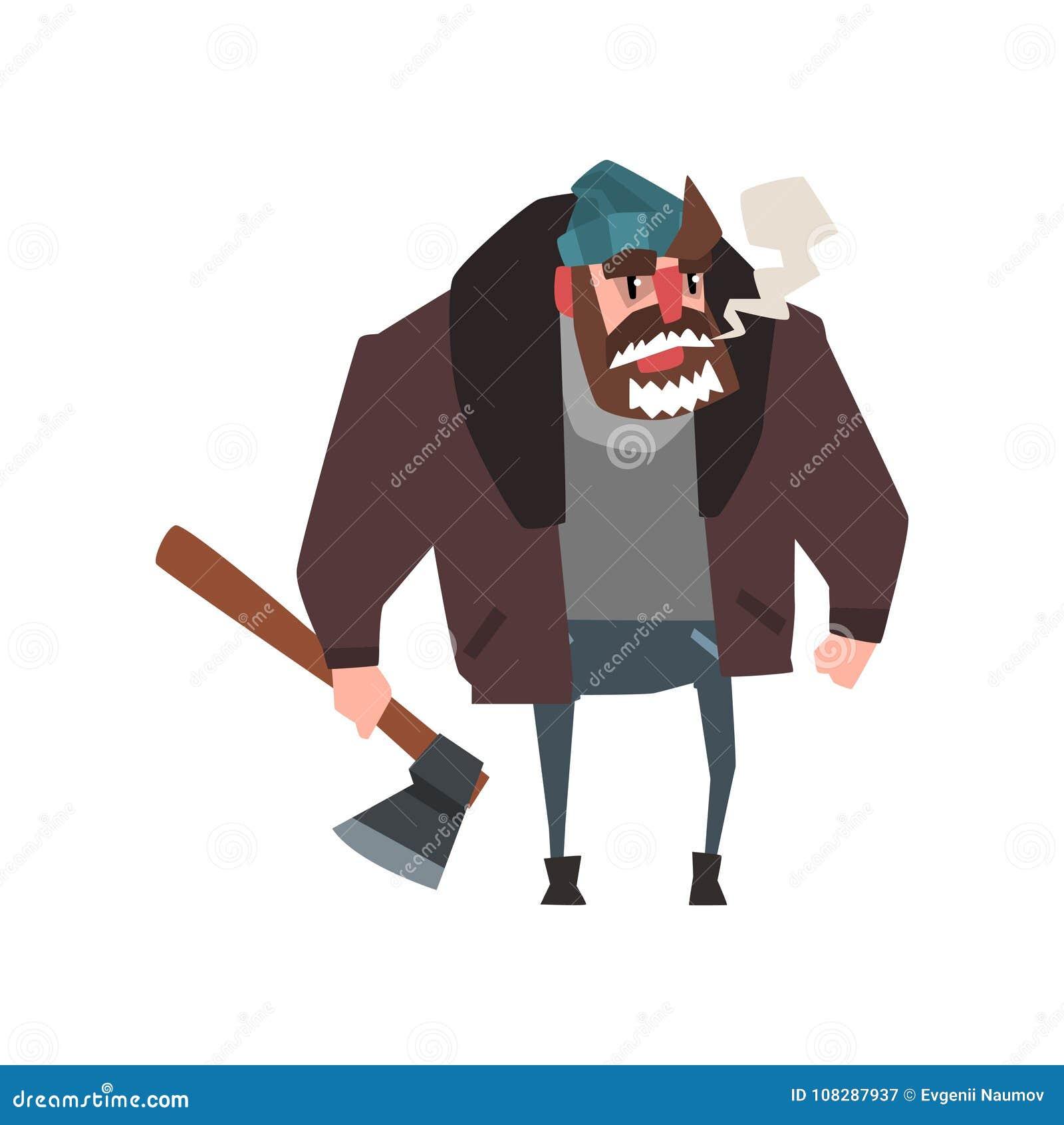 Carattere dell uomo forte con l ascia a disposizione boscaiolo con