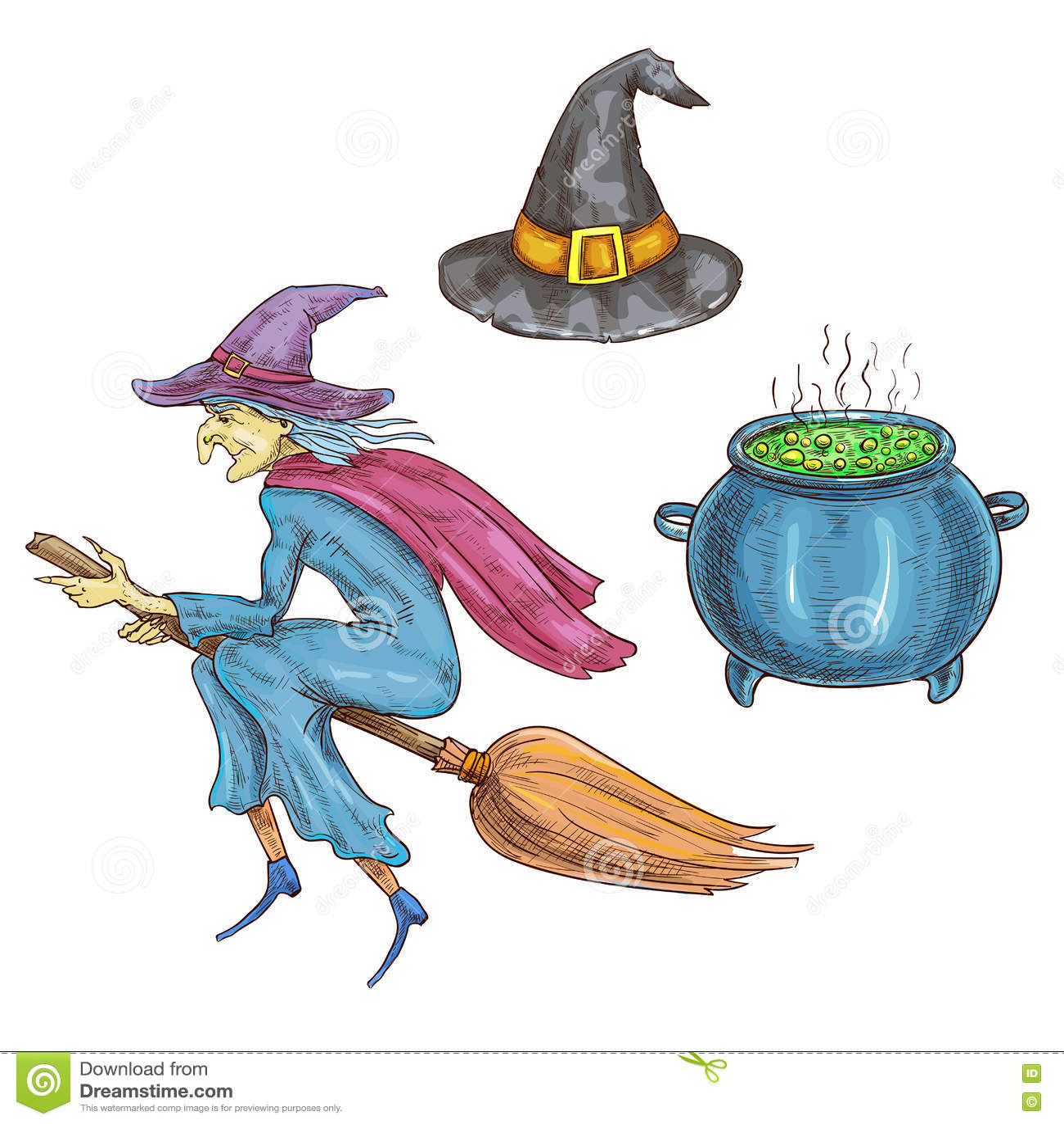 Carattere della strega con gli elementi della strega di Halloween schizzi  le icone della vecchia befana con il volo del cappello sulla scopa 3900c31c4d66