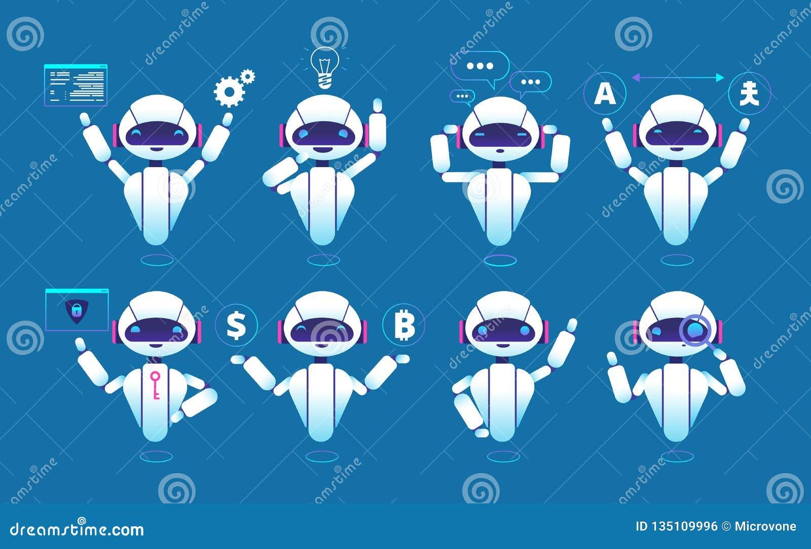 Carattere di Chatbot Robot online di chiacchierata del robot sveglio nelle pose differenti Insieme isolato vettore di Chatterbot