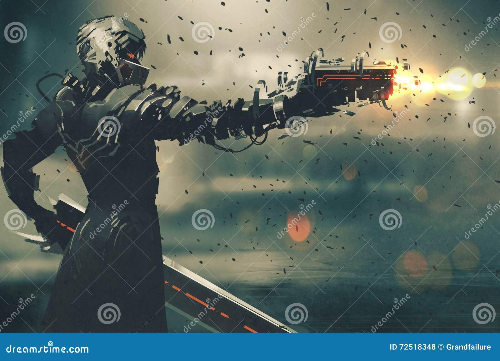 Carattere di fantascienza in vestito futuristico che tende arma