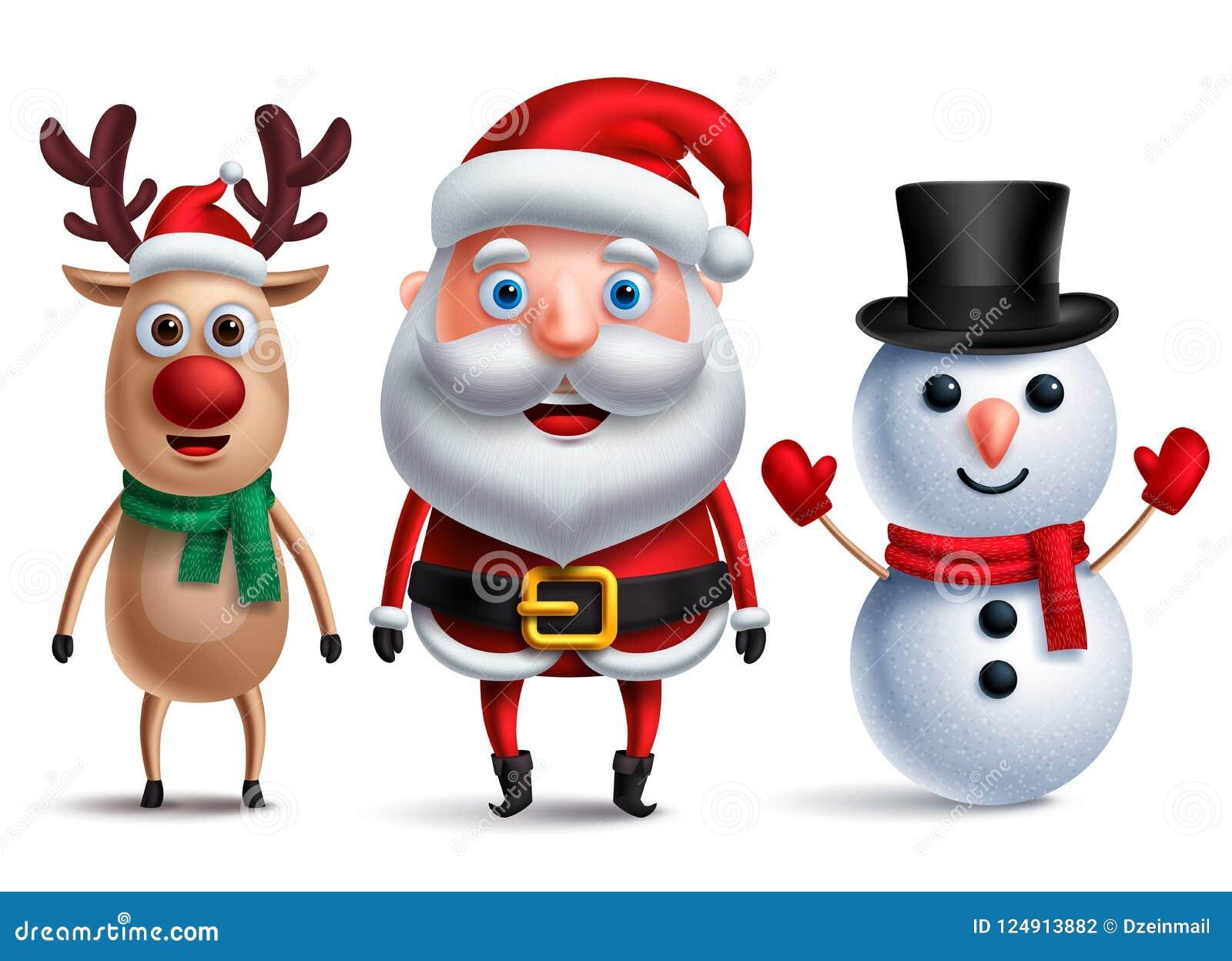Carattere di vettore del Babbo Natale con il pupazzo di neve e Rudolph la renna