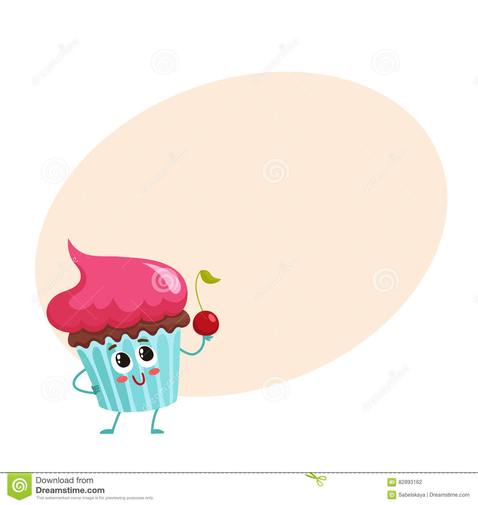 Carattere divertente del bigné con guarnizione crema rosa