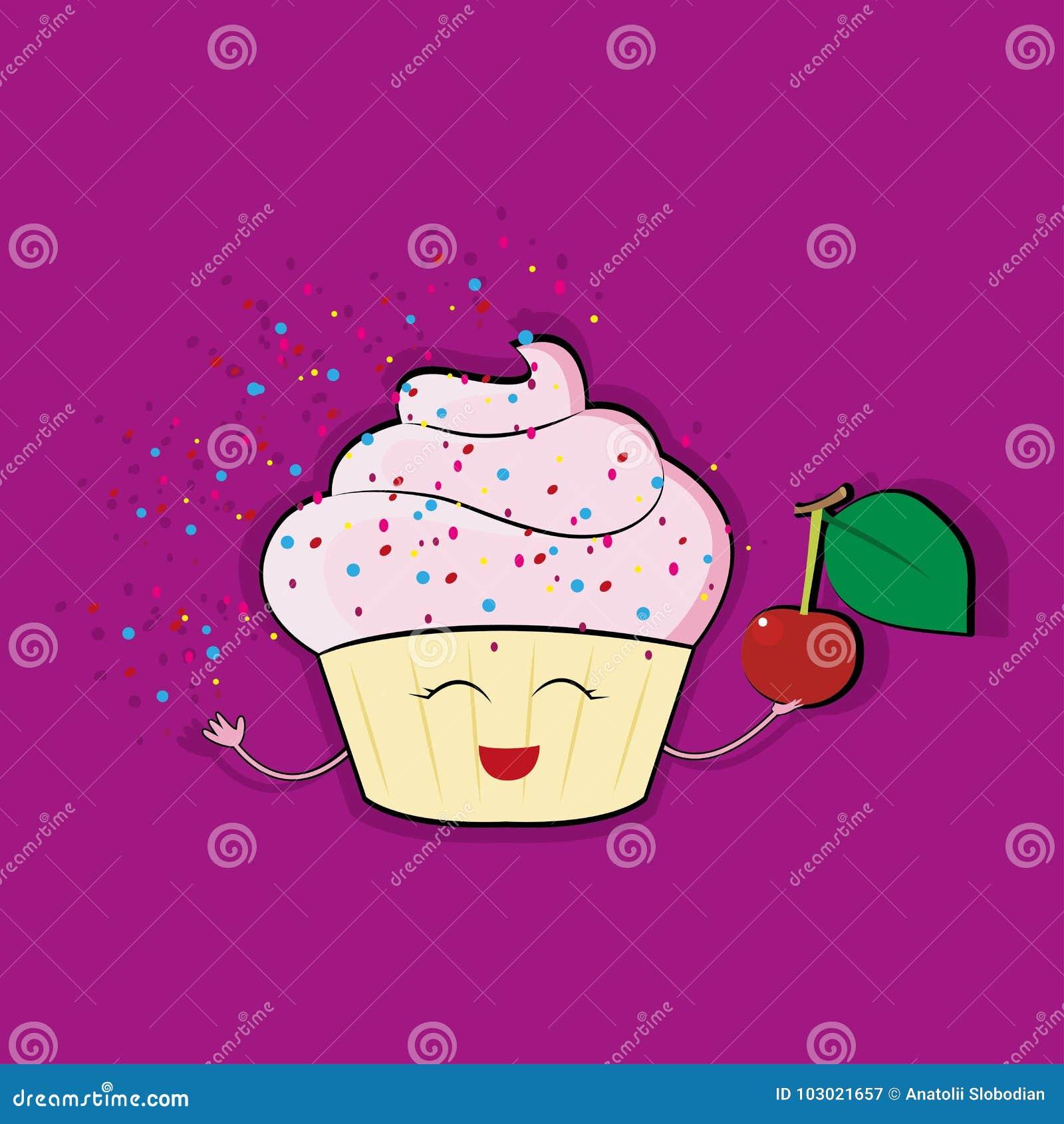 Carattere divertente del bigné con guarnizione crema rosa, illustrazione di vettore di stile del fumetto isolata su fondo bianco