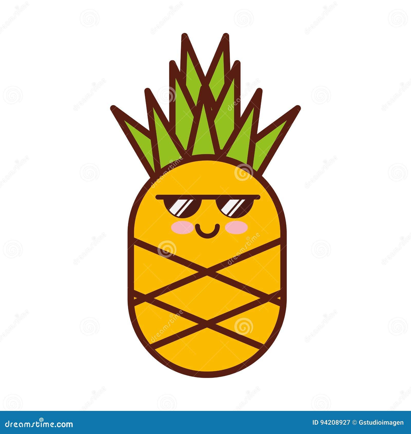 Carattere Fresco Di Kawaii Del Fruitv Dell Ananas Illustrazione