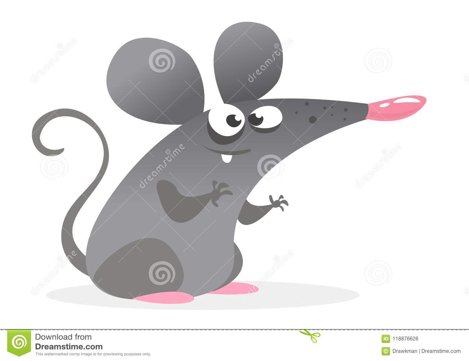 Carattere grigio del topo del fumetto divertente Illustrazione di vettore isolata