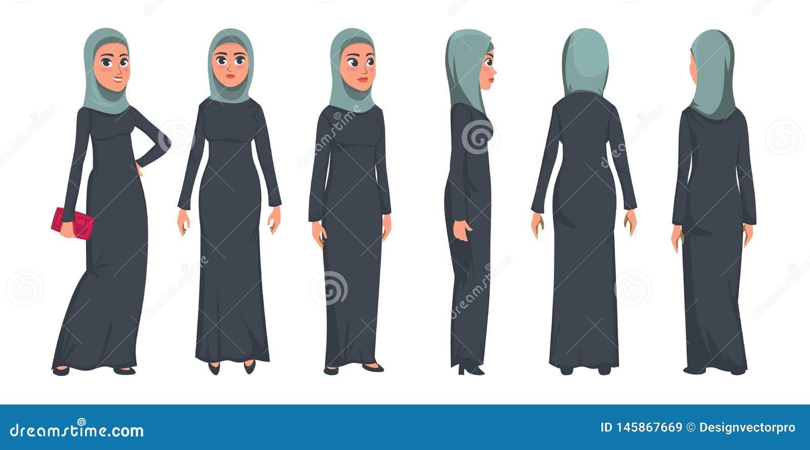 Carattere musulmano arabo della donna isolato su fondo bianco Donna musulmana che indossa la parte anteriore tradizionale dell ab