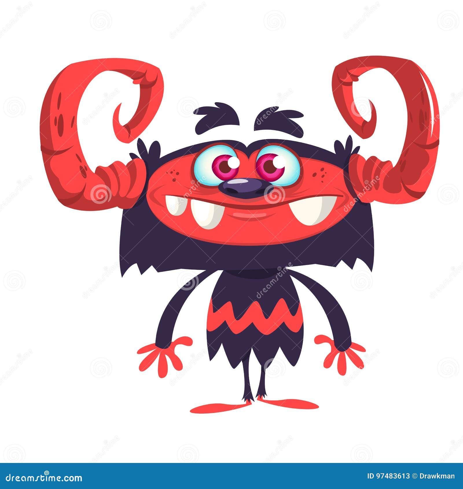 Carattere nero felice del mostro con i grandi corni ed il viso arrossato Illustrazione di vettore