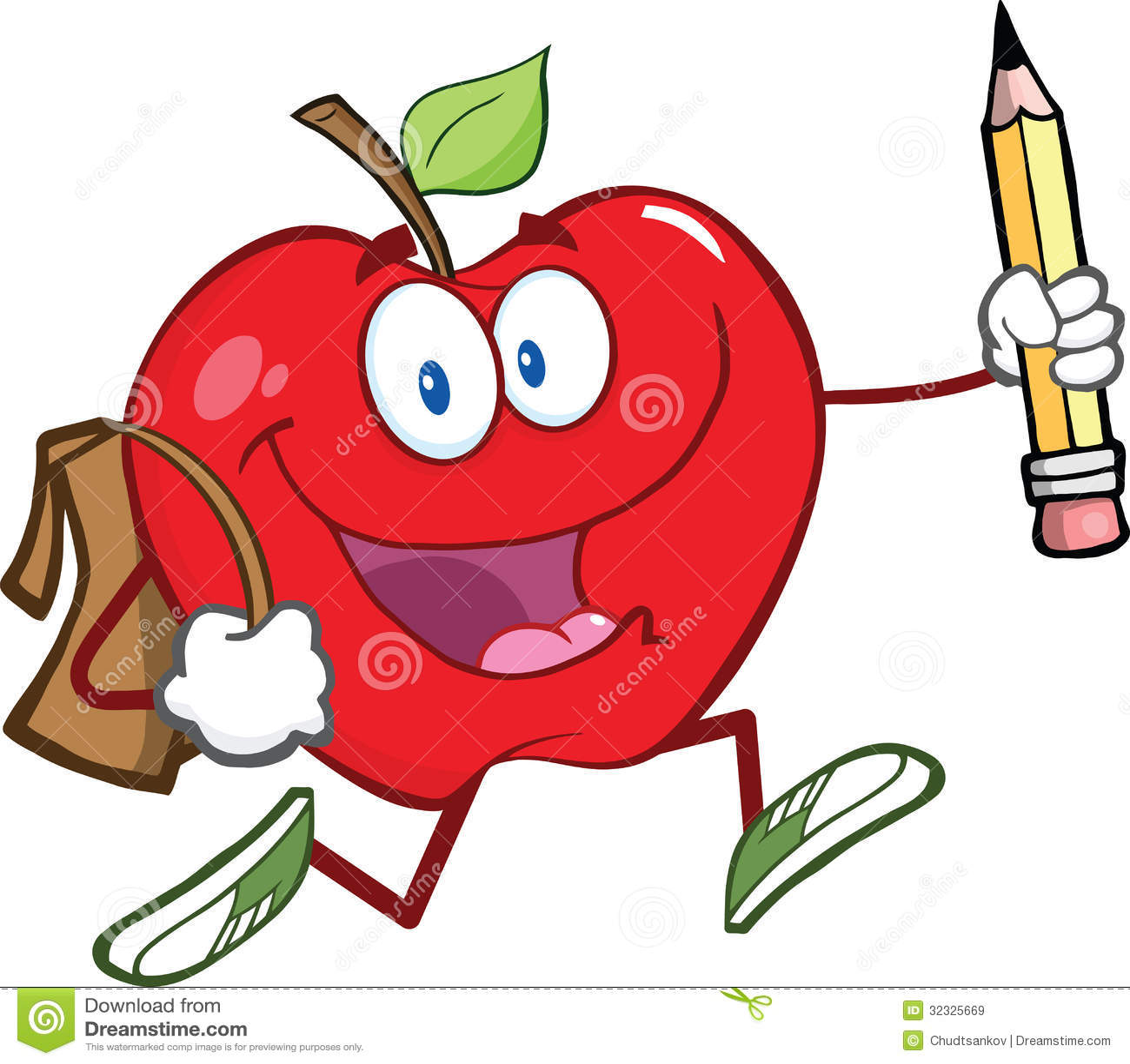 Carattere rosso di Apple con la borsa di scuola e la matita Goe