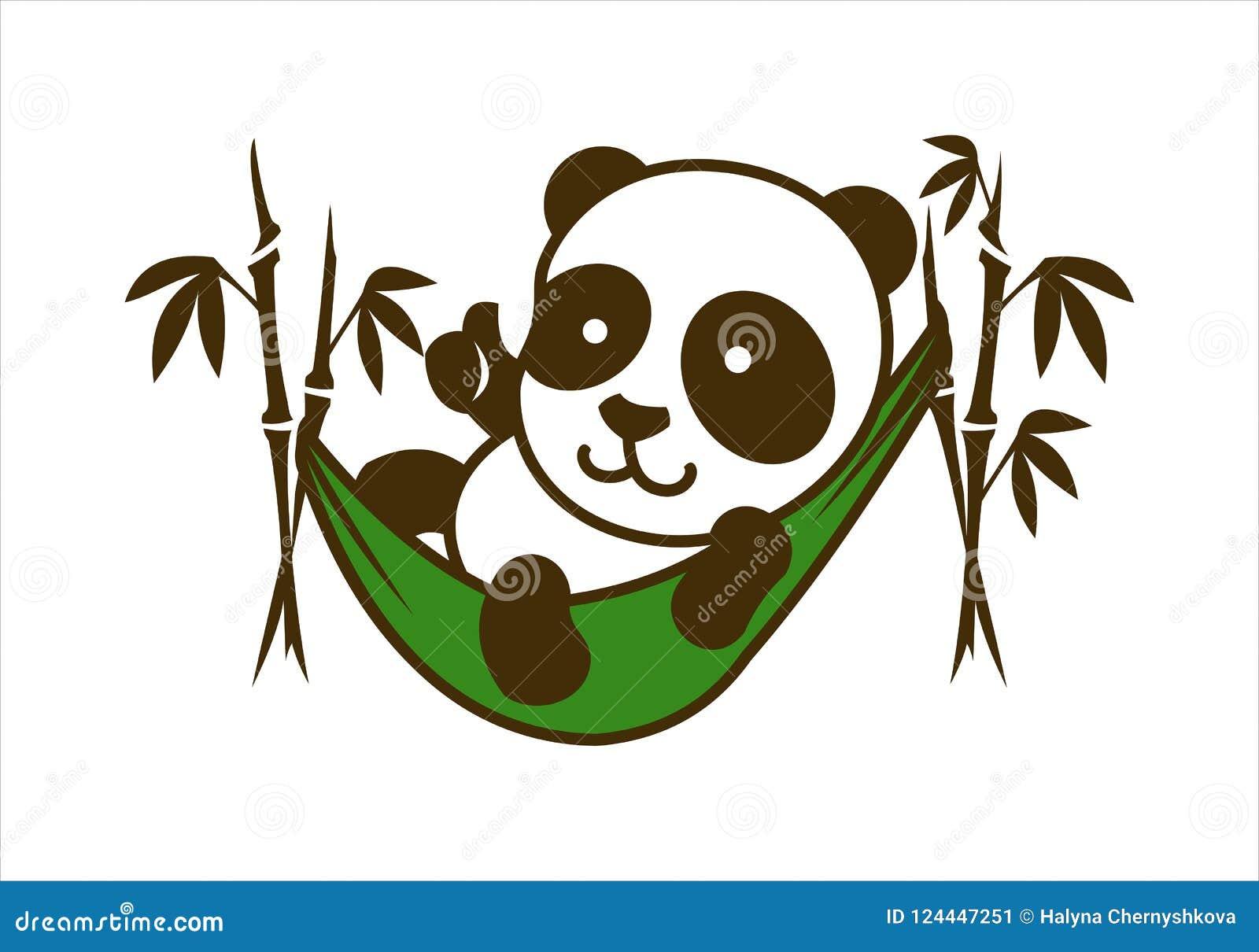 Carattere sveglio del piccolo panda in amaca di bambù