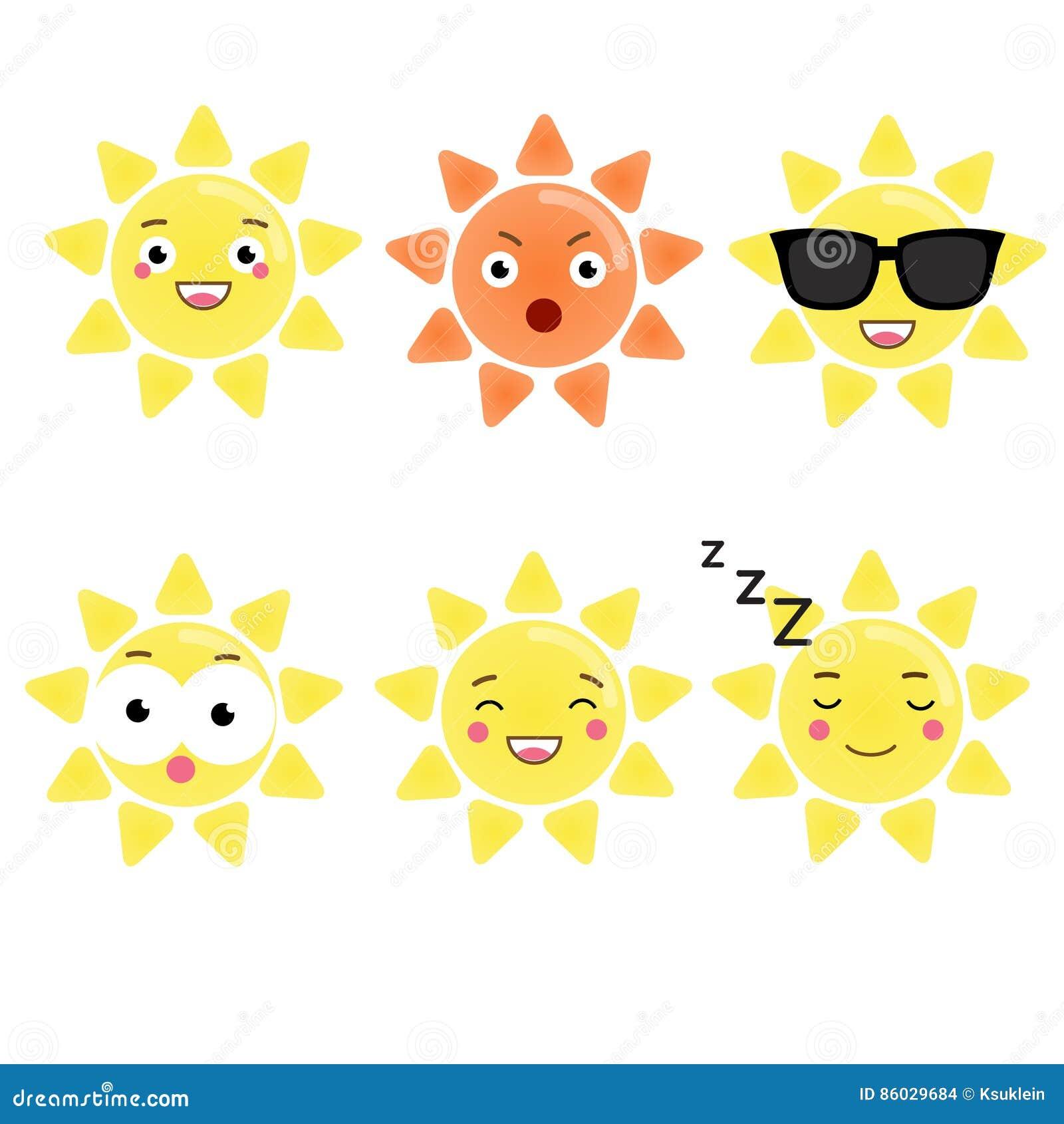 Carattere Sveglio Del Sole Di Kawaii Emoji Di Vettore Emoticon