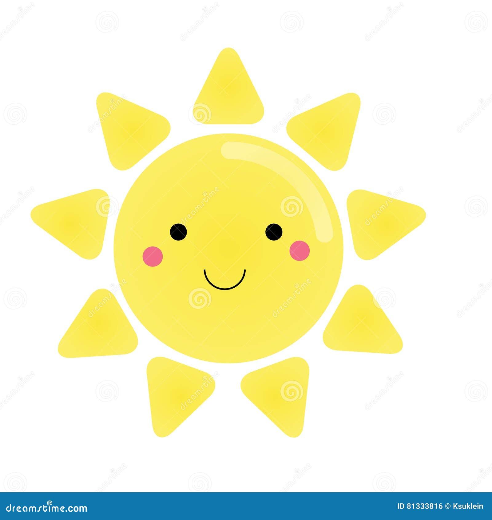 Carattere Sveglio Del Sole Di Kawaii Illustrazione Per I Bambini