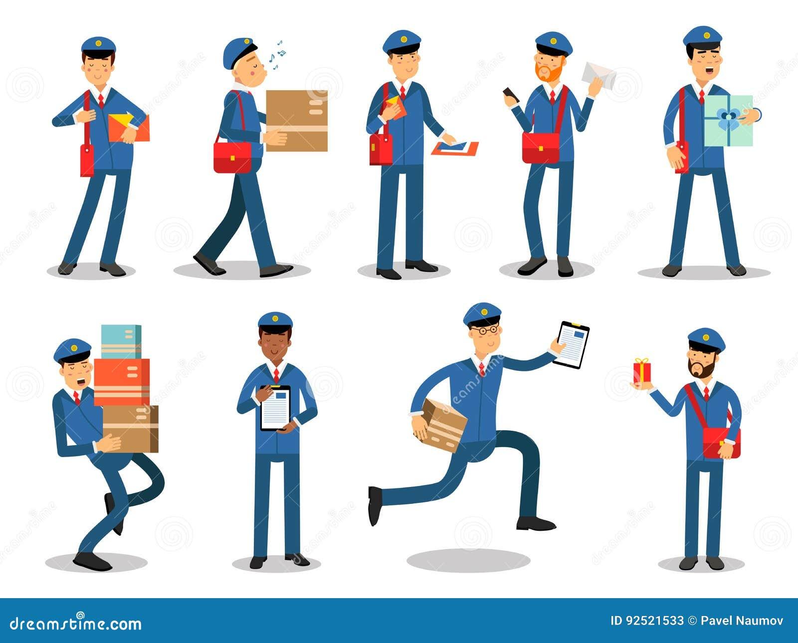 Caratteri del postino che fanno il loro insieme di lavoro I postini allegri nel fumetto differente di situazioni vector le illust