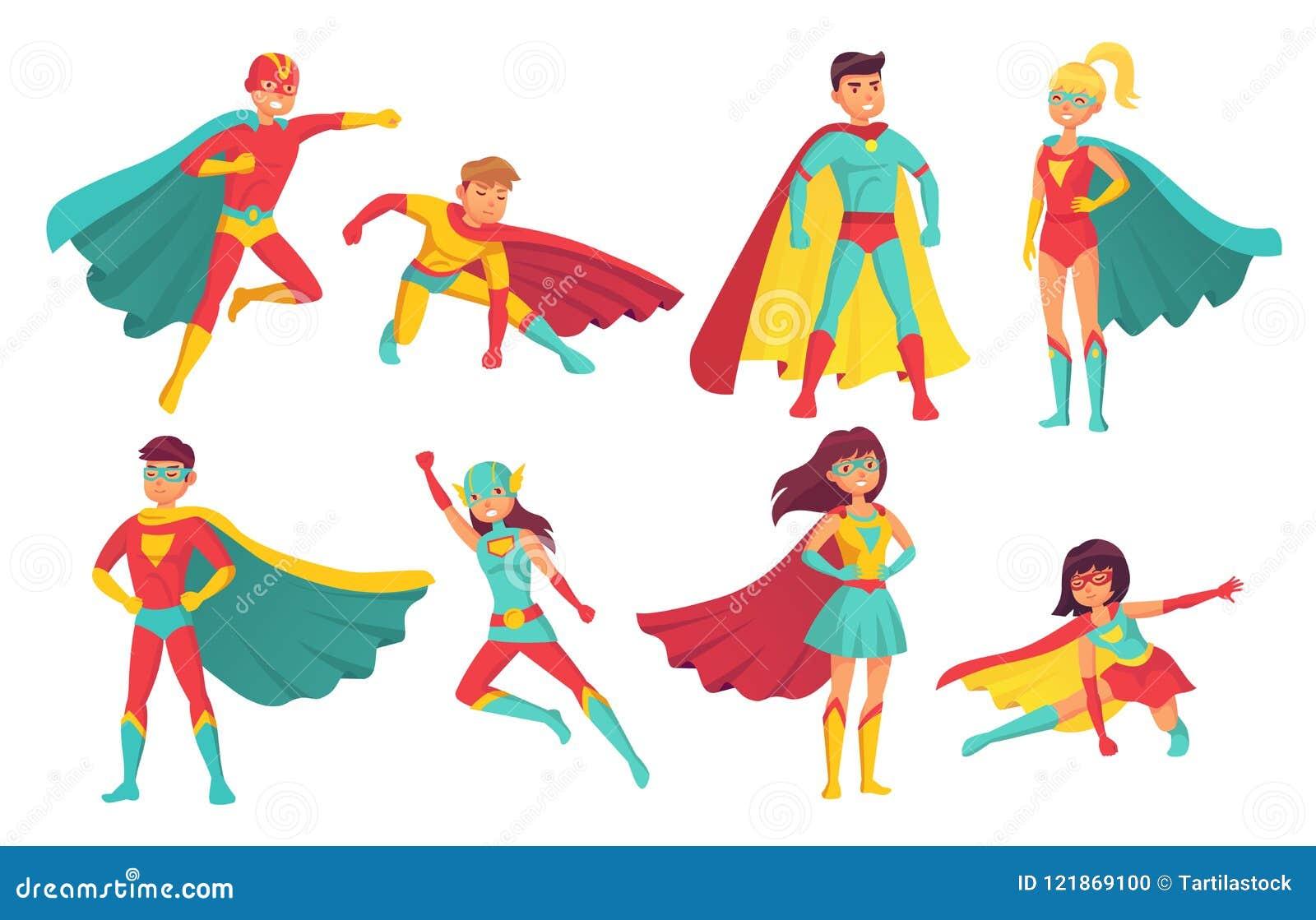 Caratteri del supereroe del fumetto Supereroi femminili e maschii di volo con le superpotenze Superman e superdonna coraggiosi