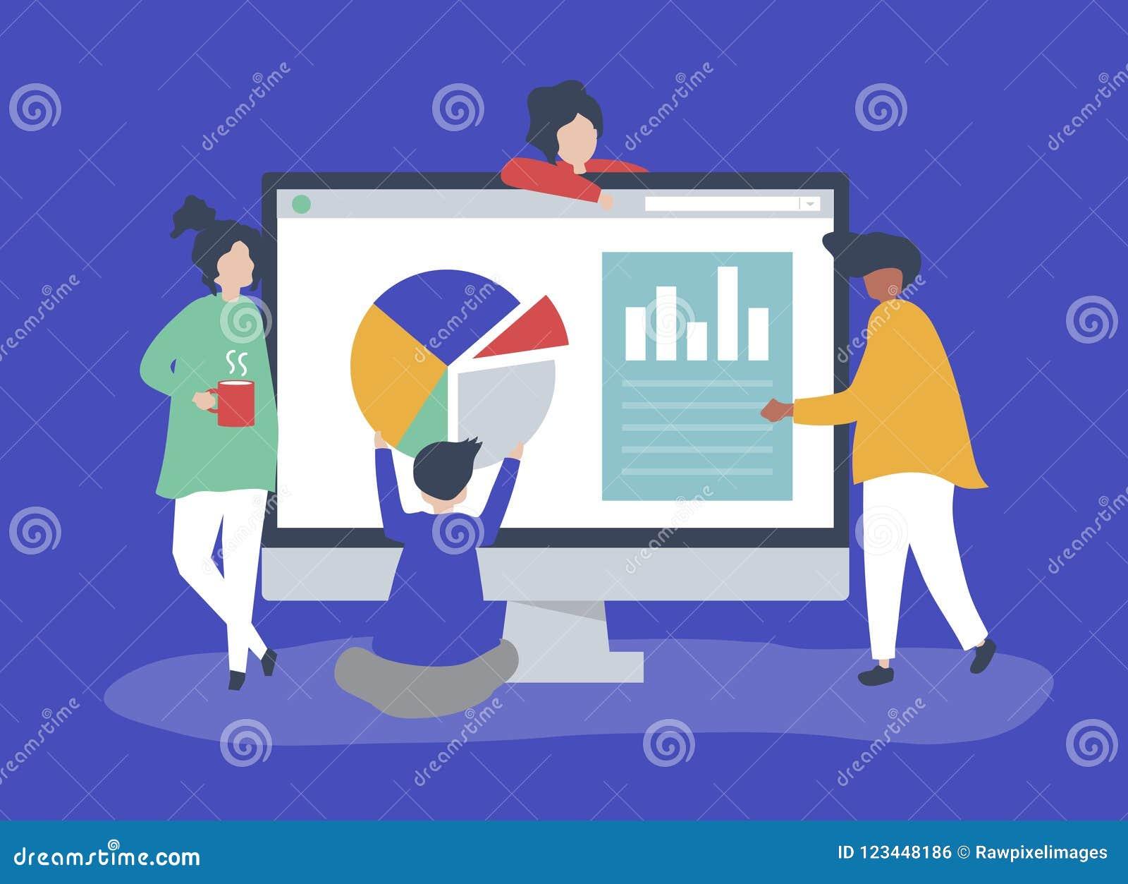 Caratteri della gente che analizza l illustrazione dei diagrammi e dei grafici