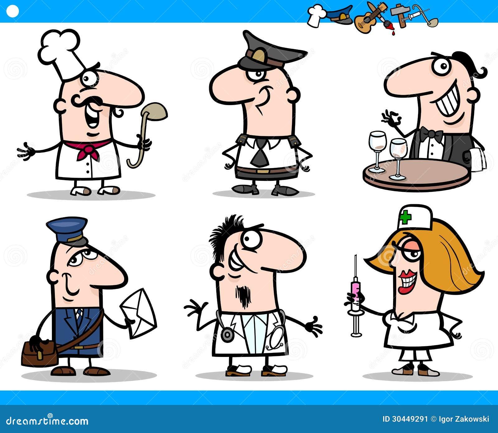 Caratteri di occupazioni della gente del fumetto messi