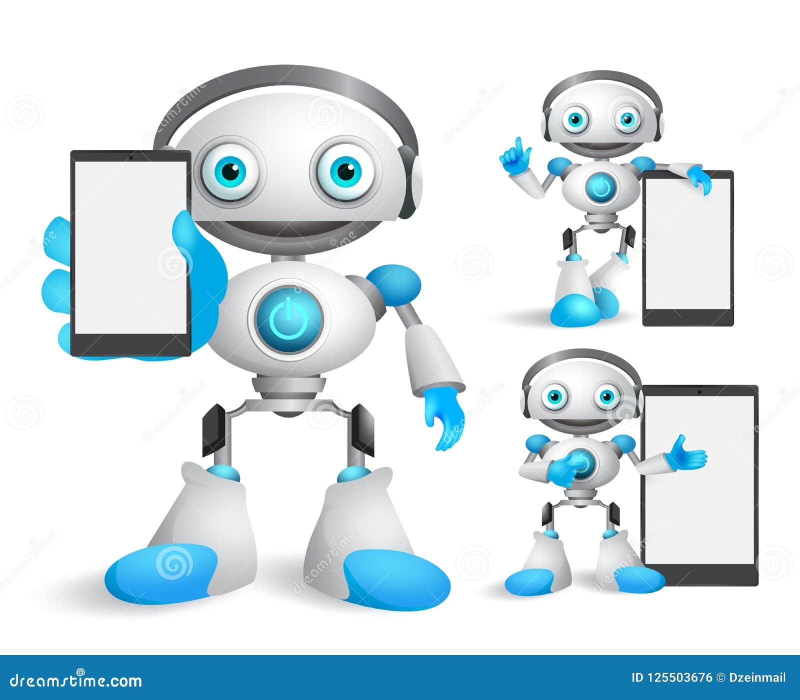 Caratteri di vettore del robot messi tenere l aggeggio del telefono cellulare