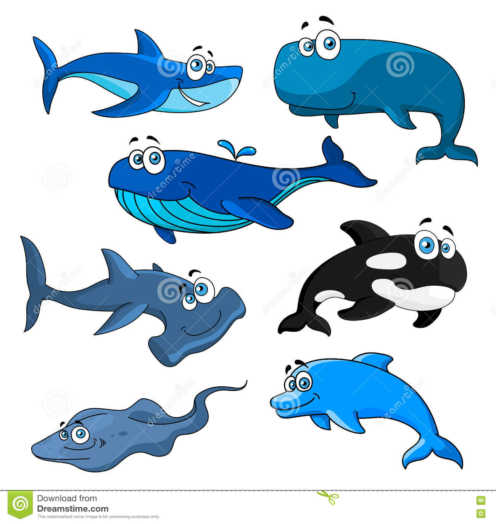 Caratteri divertenti degli animali di mare del fumetto