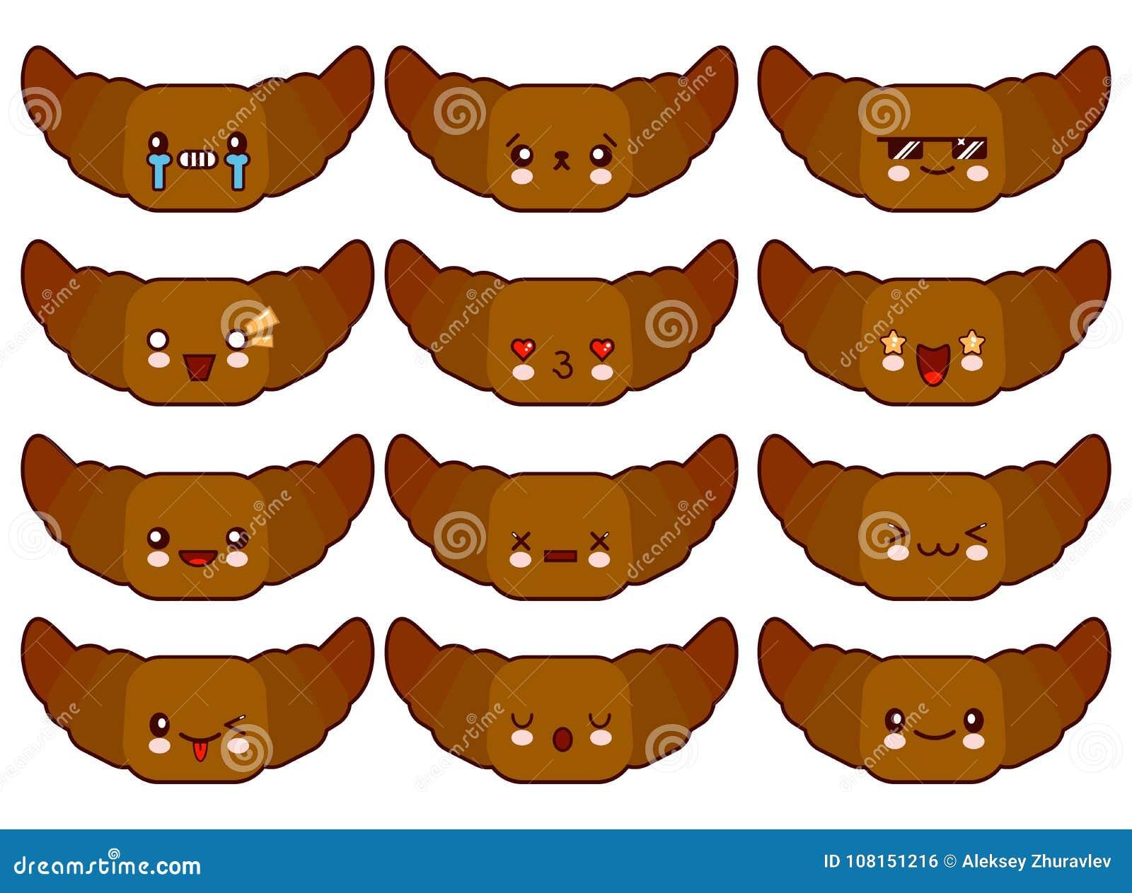 Caratteri divertenti del croissant del fumetto isolati su fondo bianco Emoji divertente dell icona del fronte dell alimento Illus